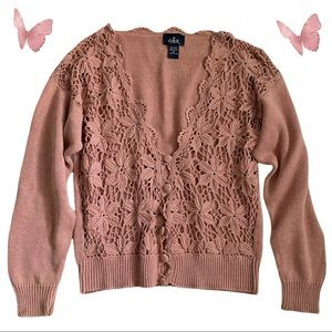 Vintage OBR woven floral cardigan sweater, dusty pink
